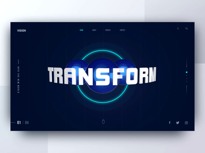 3D Website Header ui  ux hero image render balls circle shape transform vision science space dark header animation 3d ui website