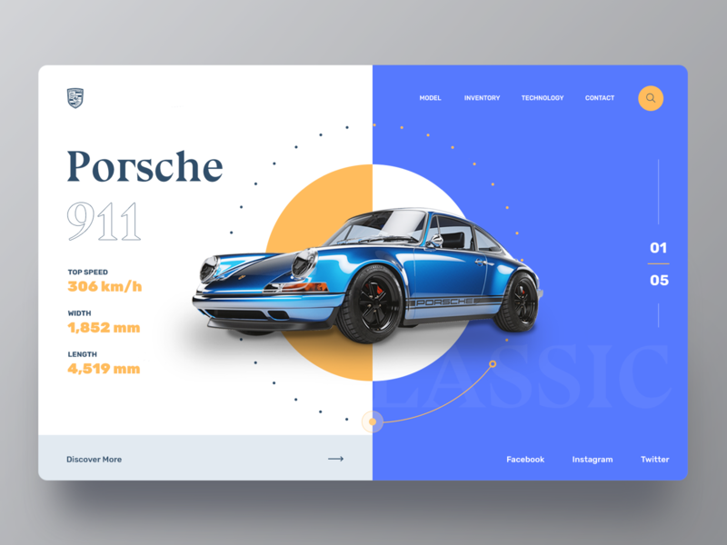 Porsche Car Website homepage clean store web webdesign retro card car design ui ui  ux header website