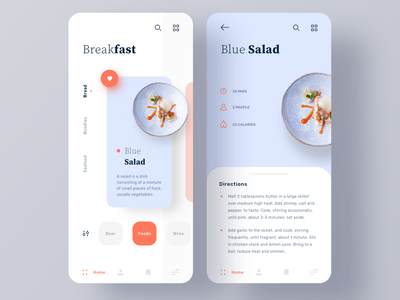 Cooking Recipe App restaurant mobile chef cuisine cooking foodie food app blue orange food recipe cooking app minimal ui  ux clean ui
