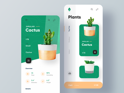 Plant Shop App store add to cart green shopping app ecommerce app ui minimal clean ui ux ecommerce plants shop