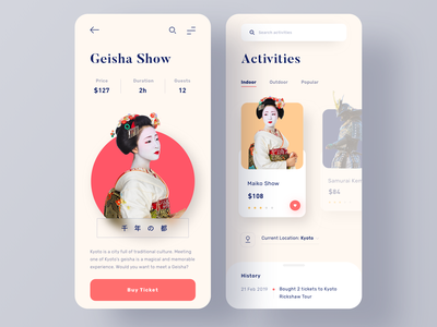 Activities & Tours Booking App trip planner minimalist trip traditional culture geisha japan red traveling activities booking tour travel ui  ux minimal clean ui