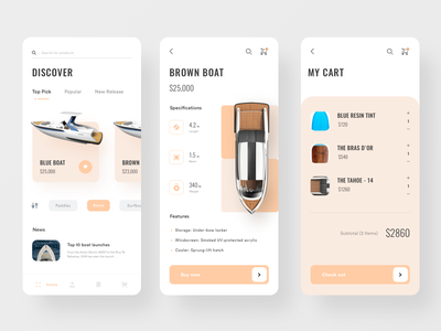 Boat Shop App brown orange ecommerce app shopping app checkout product app clean minimal ui ui  ux payment cart store shop ecommerce boat