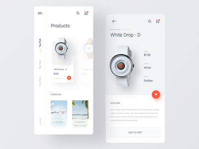 Watch Shop App mobile minimalist ui  ux app accessories fashion watch shop ecommerce ui ux clean minimal ui ecommerce app shopping app add to cart store