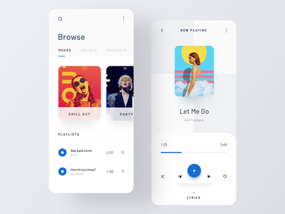 Music Player App playlist artist song play music app app design music player app player music ui  ux minimal clean ui