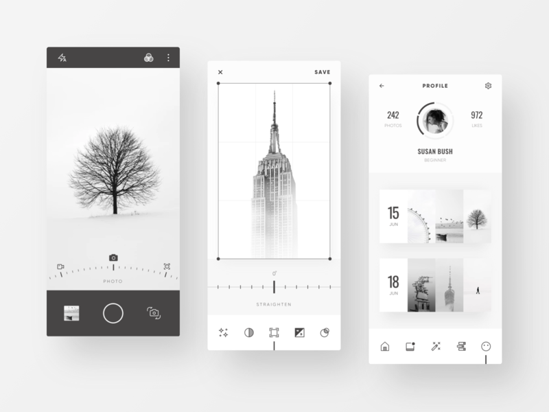Mono Photo Editor App monochrome minimalist clean camera app camera profile gallery app design mobile ui photo editor photo album photos photograhy minimal ui  ux mobile app ui design