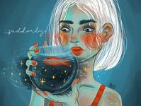 Suddenly girl procreate digital illustration