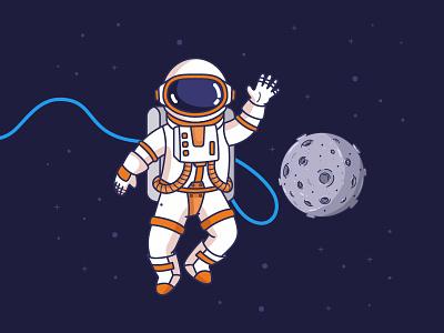 Astronaut waving hand line space illustration vector astronaut