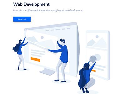 Web Development Illustration building website design ui design website header web design illustration web development