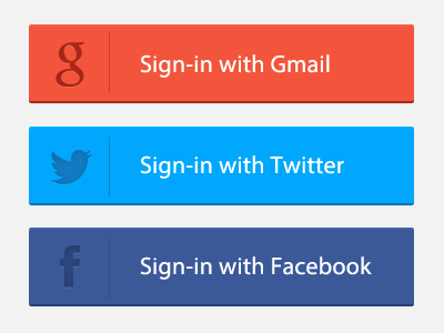 Freebie PSD:Signin Button kyenlee flat button gmail twitter facebook sign-in psd