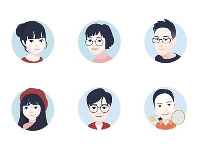 cartoon avatar for team colleagues(2) avatar,illustration