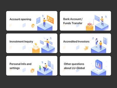 Banners for Lu-Global's New FAQ design ui illustration