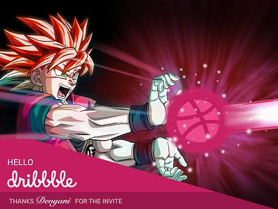 Hello Dribbble dragon ball z goku uidesign ux design hello dribbble hello dribble first shot