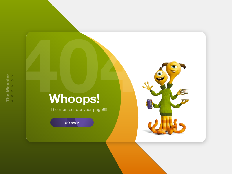 404 Page Not Found found food hungry ate monster green dailyui page not found