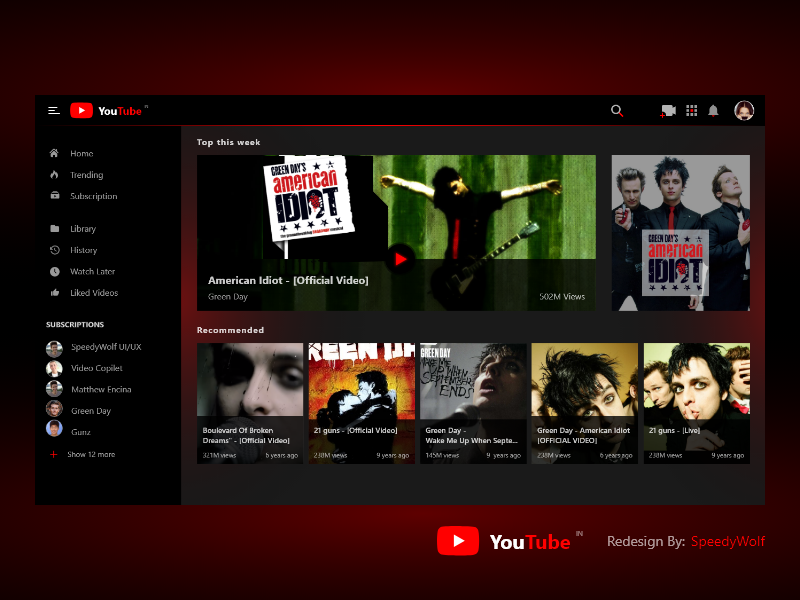 YouTube Redesign user profile user centric dark app dark ui youtube channel greenday red dark black redesign tube you youtube