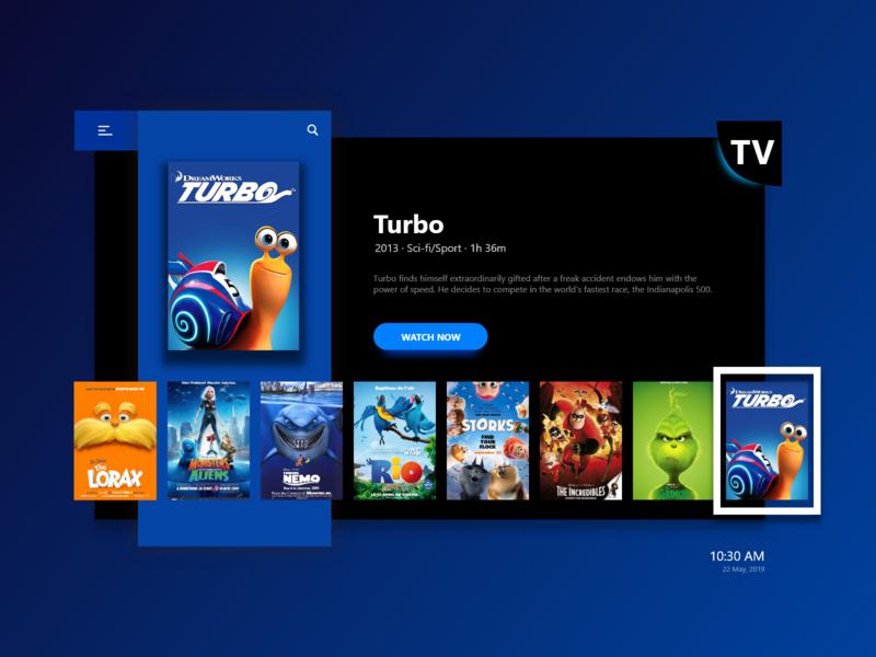 Smart Tv ui scifi cartoonmovies movies sports blue turbo cartoon television dark online tv