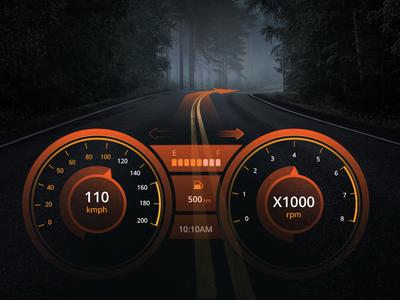 Daily UI : Speedometer Design road forest black console card dashboard dashboard vehicle car x orange speed speedometer