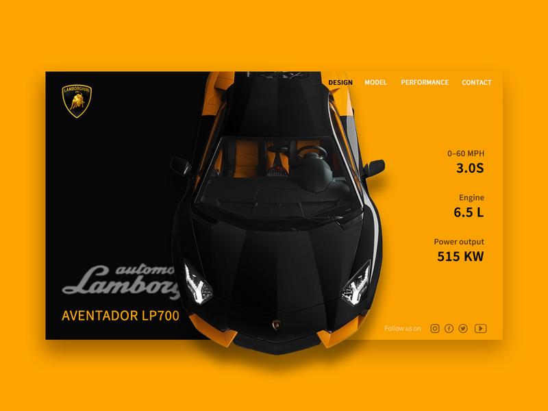 Lamborghini websites website design ux ui webuiuxdesign webui website fast love black yellow sports car lamborghini