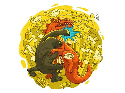 King Kong vs Godzilla belightsoft macos amadine app amadine illustration vectorart vector art tank tube airplane dinosaur monkey king kong
