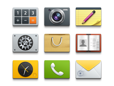 Style sketch icons call alarm clock note gear calculator camera mail