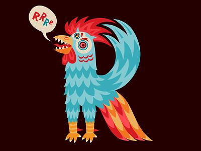Rooster, letter R for 36 days of type design art illustration app amadine vector logo rooster letter type 36days 36daysoftype