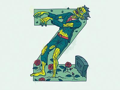 Zombie, letter Z for 36 days of type app illustration design amadine walking dead art vector zombie