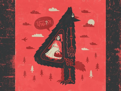 4 for 36 days of type scary skeleton red riding hood wolf illustration design amadine art vector 4 36 days of type 36daysoftype