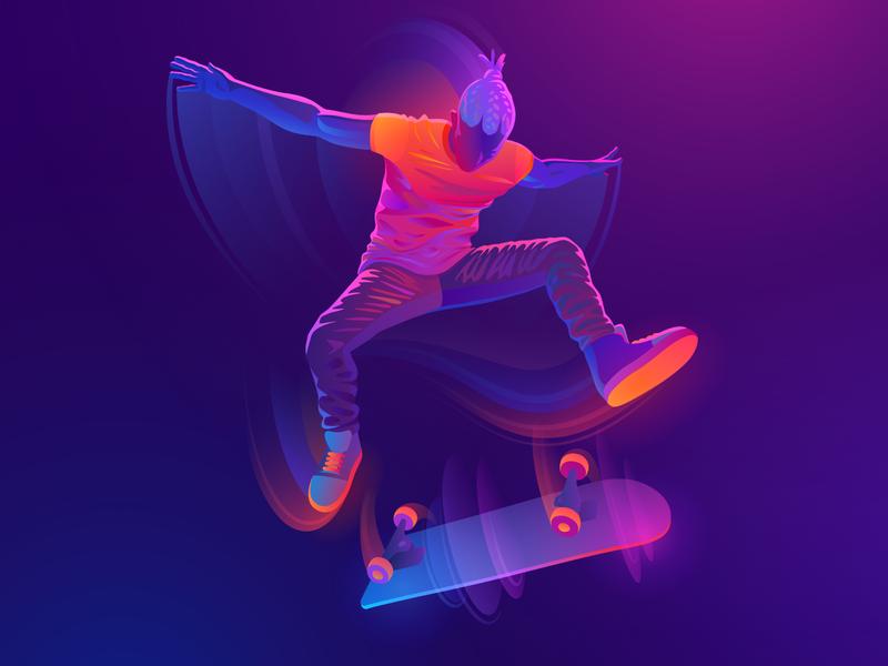 Skater vector artwork sport light neon vector skater skate