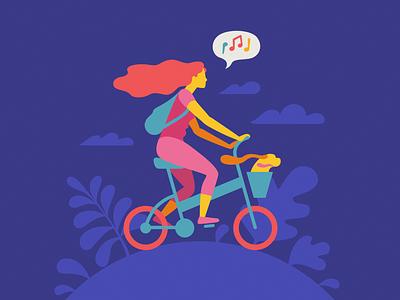 Bicycle summer camping bicycle dog flat vector girl bike