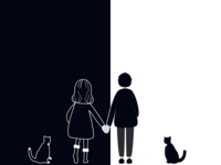 two people & one cat