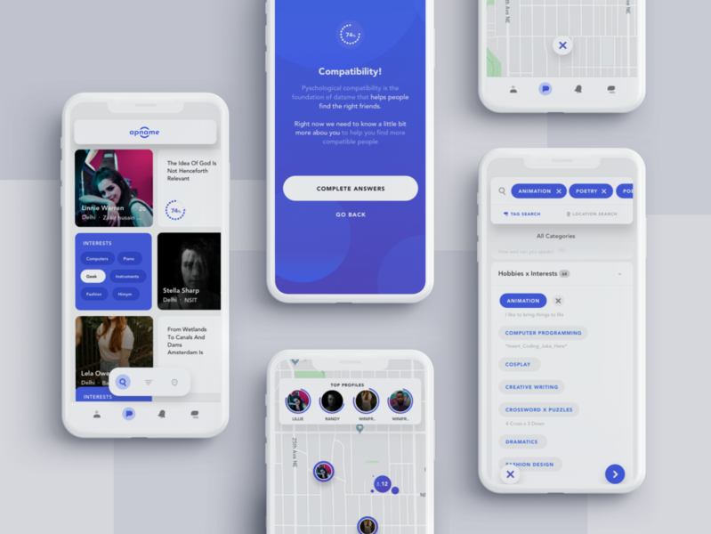 Compatible Friend Finder App app elegant white modern minimal app design ios ui mobile app mobile ui