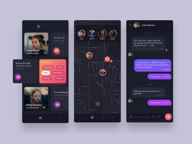 Friend Finder App - Dark Theme tile listing dark map map chat mobile app ux mobile ui dark ui dark ui