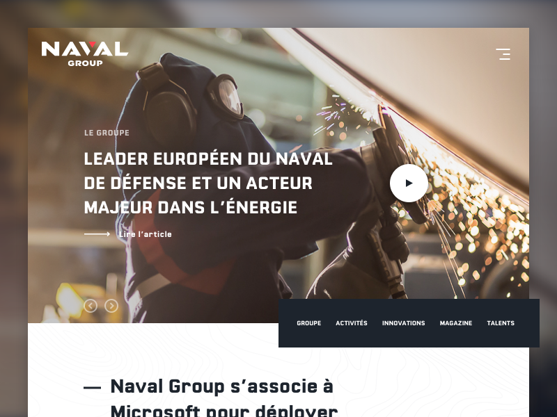 Naval Group - Home player video home webdesign naval group naval group