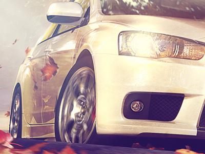Mitsubishi Lancer Evo X 3d vray photoshop car. autumn mitsubishi lancer illustration