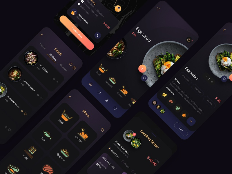 Food Delivery Mobile App ios food app interaction food and drink food dark mode creative design uidesign delivery app app restaurant booking delivery typogaphy iilustration interface ux ui mobile app