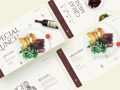 Rebu Restaurant breakfast uxdesign uidesign mobile ecommerce ux ui template typography creative clean interface minimal landing page webdesign food and drink food booking restaurant