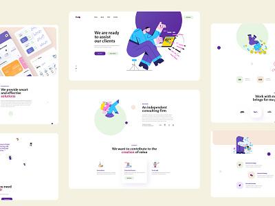 Fichi Landing page business data colorful illustrations portfolio ux design website ui design template landing page creative design minimal interface agency company ux ui landingpage