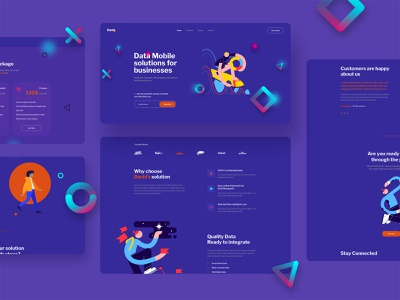 Dachi landing page portfolio interaction colorful mobile landing page creative clean minimal interface design ux ui ilustrator solutions data agency company business