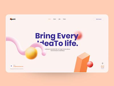 agechi - Landing Page colorful business ux design ui design landingpage creative clean minimal interface design ux ui typography illustration 3d art porfolio company agency
