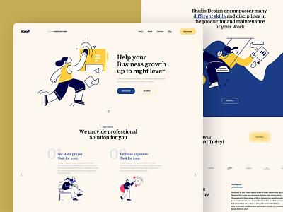 Aglee - Landing page portfolio modern illustrator company business ux design ui design website template typography landing page creative clean minimal interface design ux ui agency