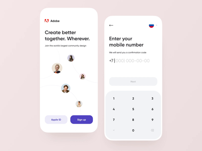 Sign Up Mobile Form | #CreateWithAdobeXD minimalism clean ui ux playoff animation interaction sign in login registration code keyboard mobile sign up adobe xd