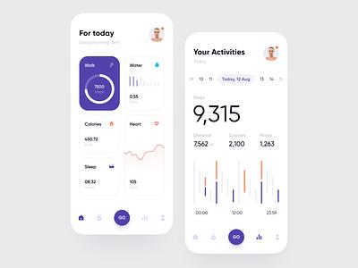 Health Tracker App heartbeat sleep water heart calories steps chart calendar activities health healthcare dashboard app