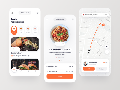 Food Delivery Mobile App order courier ux ui cafe restourant burgers service food delivery app home screen cart map delivery food mobile app