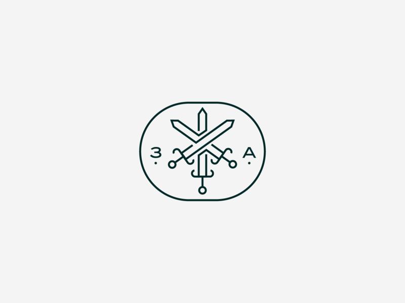 Tres Ases monoline icon logo three sword