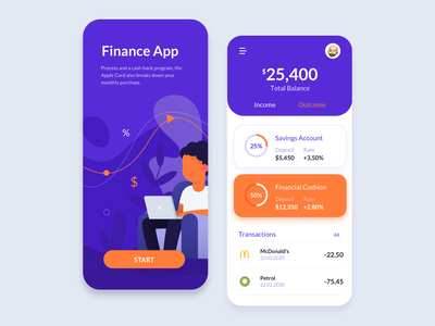 Financial App - Total balance mobile application product design ui app costs saving money budget finance bank app banking bank financial
