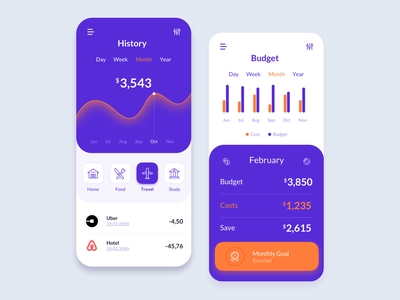 Finance App - Budget & History fintech finance ux ui product design interface mobile app