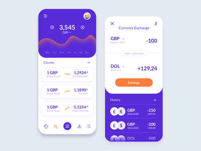 Finance Application - Currency exchange financial currency application product design product design bank currency exchange finance fintech ux ui interface mobile app