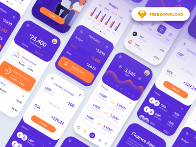 Finance Application - Free download app design uiux currency exchange bank finance fintech freebie product design product mobile aplication app