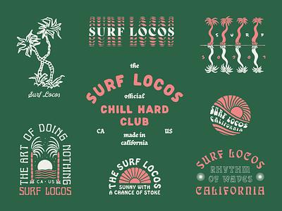 Surf Locos Roundup 1 type sun palm tree tee design surfing branding typography lockup roundup illustration surf