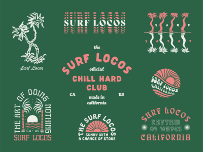 Surf Locos Roundup 1 type sun palm tree tee design surfing branding typography lockup roundup illustration surf