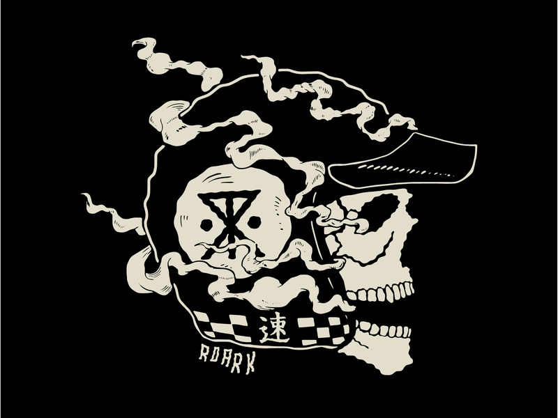 Roark Dead Head Graphic typography surf design roark tee shirt tee illustration flat smoke helmet moto skull